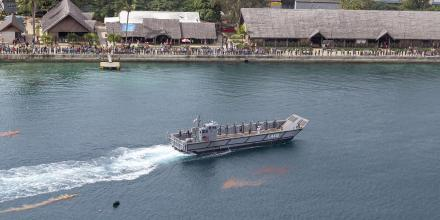 A landing craft from HMAS Choules prepares to join the Vanuatu Police Maritime Wing in a Seafarer's Parade. Photo: Leading Seaman James McDougall