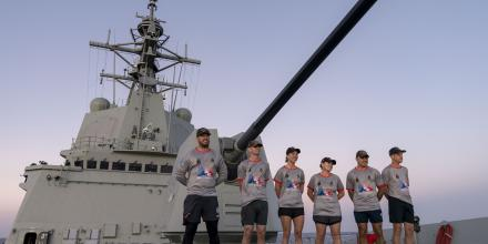 Petty Officer Neale Merrick, Lieutenant Commander Tavis Knack, Sub Lieutenant Savanna Schimmel, Chief Petty Officer Raechelle Henderson, Leading Seaman Jarryd Boyd and Chief Petty Officer Jeremy Pitchford before the marathon.