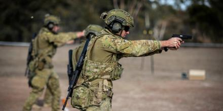 Corporal Todd Madden engages targets during the Australian Army Skills at Arms Meeting 2019 held in Puckapunyal, Victoria.