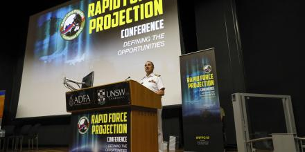 The Vice Chief of the Defence Force, Vice Admiral David Johnston, speaks at the Rapid Force Projection Conference in Canberra.