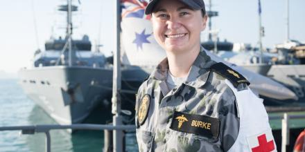 Able Seaman Medic Carly Burke, of HMAS Ararat, alongside HMAS Coonawarra in Darwin.