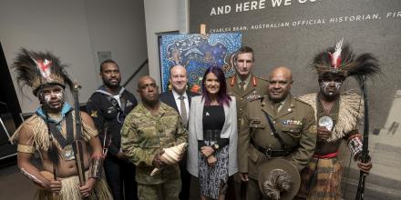 The Chief of the Defence Force, General Angus Campbell (third from right) and Secretary of Defence Greg Moriarty (centre) join Indigenous personnel and artist Chern'ee Sutton at the launch of the Defence Reconciliation Action Plan. Photo: Lauren Larking