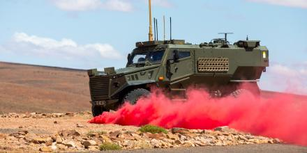 A British Army Foxhound during electronic countermeasure testing at the Woomera Prohibited Area during Exercise Thor's Hammer. Photo: Corporal Chris Beerens