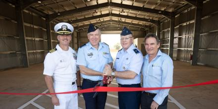 US Navy Captain Tres Meek, Group Captain Grant Pinder, USAF Brigadier General Jeffrey King and Sunbuild's Jim Eadie at the opening ceremony of the new facility at RAAF Base Darwin. Photo: Petty Officer Peter Thompson
