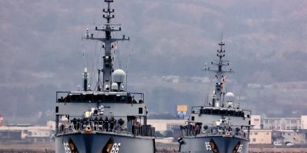 Minehunters HMA Ships Diamantina and Gascoyne arrive in Japan for a port visit during their Maritime East Asia deployment.