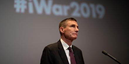 Chief of Defence Force General Angus Campbell addresses the iWar forum at Parliament House, Canberra. Photo: Jay Cronan