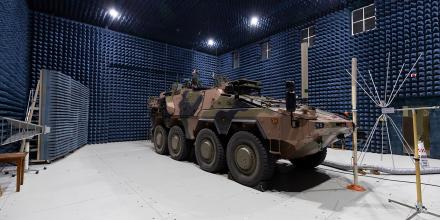 An Army Boxer vehicle in the Electric Communications Laboratory at the Land Engineering Agency Proving Ground, Monegeetta, Victoria. Photo: Jay Cronan