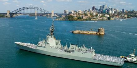 HMAS Brisbane sails into Garden Island, Sydney, after her five-month deployment. Photo: Petty Officer Justin Brown