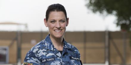 Corporal Jennifer Pearsall at the main ADF operating base in the Middle East region. Photo: Leading Seaman Craig Walton