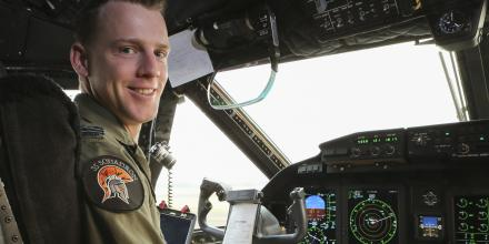 Flight Lieutenant Andrew Willersdorf performs pre-flight checks on the C-27J Spartan to deliver cargo and passengers from RAAF Base East Sale to Mallacoota. Photo: Corporal Kylie Gibson