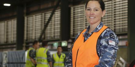 Squadron Leader Lauren Bishop at Headquarters No. 96 Wing, RAAF Base Amberley. Photo: Corporal Jesse Kane