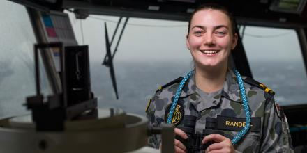 Officer of the watch Sub Lieutenant Samantha Randell on the bridge of HMAS Adelaide. Photo: Able Seaman Jarrod Mulvihill