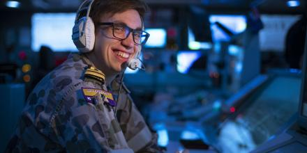 Lieutenant Stuart Francis keeps an eye on the tactical picture in the operations room on board HMAS Toowoomba as the ship patrols the Gulf of Oman. Photo: Leading Seaman Richard Cordell