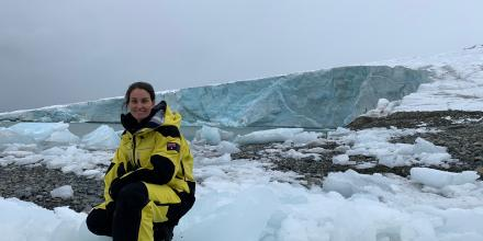 Navy Hydrographic Officer Lieutenant Danielle Britton visits the Snozco Glacier behind Peruvian Antarctic Base Machu Picchu.