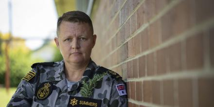 Leading Seaman Naval Police Coxswain Brooke Summers from NUSHIP Supply, reflects on the meaning of Anzac Day in preparation for the 'stand at dawn' initiative. Photo: AB Daniel Goodman