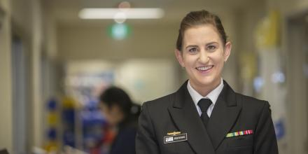 Sub Lieutenant Jess Mysko is undertaking her graduate placement at the Lyell McEwin Hospital during COVID-19. Photo: Sergeant Murray Staff