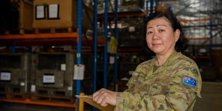 Private Ee Goh, of the 7th Combat Signal Regiment, conducts a stocktake of the quartermaster store at Gallipoli Barracks. Photo: Trooper Jonathan Goedhart