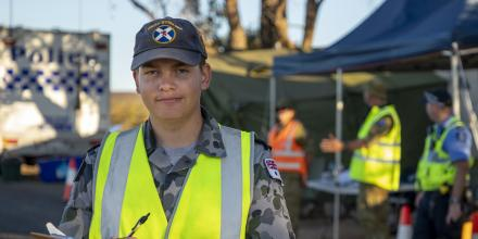 Seaman Kade Fitzsimmons at a police checkpoint in Western Australia during Operation COVID-19 Assist. Photo: Leading Seaman Ronnie Baltoft