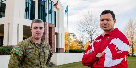 Corporal Mick Andrews, right, and Private Shannon Digance are Indigenous soldiers posted to the Royal Military College – Duntroon. Photo: Private Miguel Anonuevo