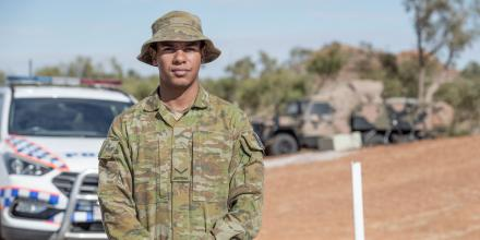 Lance Corporal Carl Casey, of 51st Battalion, Far North Queensland Regiment, is supporting the Queensland Police Service on the Northern Territory/Queensland boarder as part of Operation COVID-19 Assist. Photo: Trooper Jonathan Goedhart