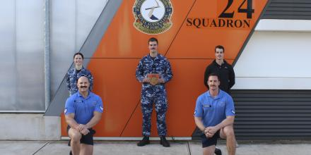From left: Leading Aircraftwoman Melissa Flint, physical training instructor and event organiser Sergeant Lance Symonds (front), Leading Aircraftman Matthew Hobbs (centre), Corporal Robert Edwards (front) and Private Braeden King, 7RAR Infantry, (back).