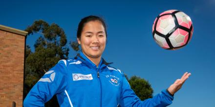 Leading Aircraftwoman Olivia Tannock is a soccer player in the ADF Football women's team. Photo: Sergeant David Gibbs