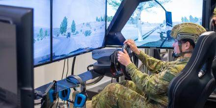 Private Jacinta-Ann Frederiksen, of 7th Combat Service Support Battalion, trains using the battle simulation system at Gallipoli Barracks, Brisbane. Photo: Trooper Jonathan Goedhart