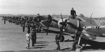 Bristol Beaufighter aircraft lined up on the airfield with RAAF fitters doing their daily inspections at the then RAAF Station Forest Hill, now RAAF Base Wagga, on December 11, 1942. Photo: Australian War Memorial