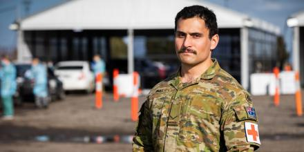 Lance Corporal Nathaneal Bull from Army School of Health is deployed to the Casey Fields testing site in Victoria. Photo: Leading Aircraftman John Solomon