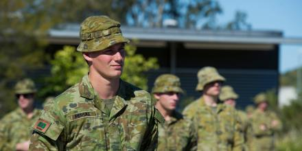 Private Joshua Perske from 8th/9th Battlion, Royal Australian Regiment, deploying on Operation COVID-19 Assist at Gallipoli Barracks, Brisbane. Photo: Corporal Nicole Dorrett