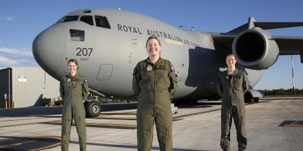 No. 36 Squadron C-17A Globemaster III aircraft Captain Flight Lieutenant Caitlin Rytenskild, centre, heads an all-female aircrew, flying alongside co-pilot Flying Officer Gemma Dorn, left,  and loadmaster Corporal Charlotte Roe. Photo: Corporal Colin Dadd