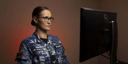 Air Force air intelligence analyst (signals) Corporal Alisha Edwards works in the field of electronic warfare. Photo: Corporal Tristan Kennedy