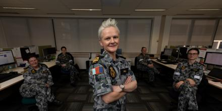 Medical administrative officer Lieutenant Bianca Prain with the COVID-19 contact tracing team in Sydney. Photo: Leading Seaman Shane Cameron