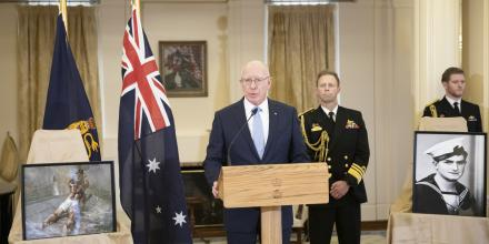 "Governor-General General (retd) David Hurley with Chief of Navy Vice Admiral Mike Noonan at the announcement of the award of the VC to Ordinary Seaman Edward ""Teddy"" Sheean at Government House, Canberra. Photo: Jay Cronan"