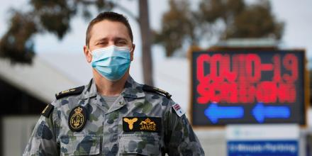 Petty Officer Gareth James at the Goulburn Valley Health testing site in Shepparton, Victoria, during Operation COVID-19 Assist. Photo: Private Dustin Anderson