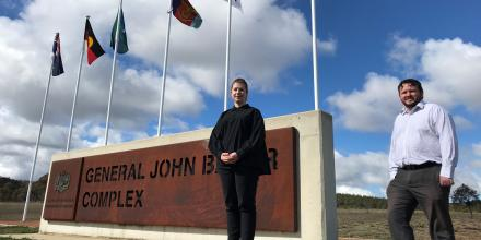 Defence Science and Technology embeds at JOC, Holly McNabb and Glen Rownlinson.