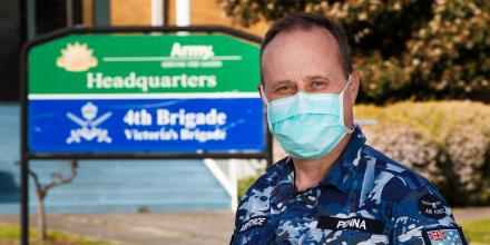 Air Force reservist Corporal Tony Penna, outside the Joint Task Group 629.2 headquarters at Simpson Barracks in Melbourne during Operation COVID-19 Assist. Photo: Private Dustin Anderson