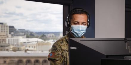 Craftsman Dennis Bernardo, from the 7th Combat Service Support Battalion, provides support to the Department of Health and Human Services on Operation COVID-19 Assist. Photo: Leading Seaman Craig Walton