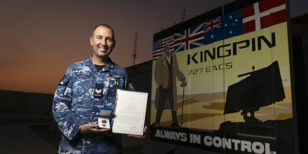 Sergeant Brendon Munday at the Air Task Element 630.1.4 Headquarters after being awarded an ADF Silver Commendation. Photo: Corporal Tristan Kennedy