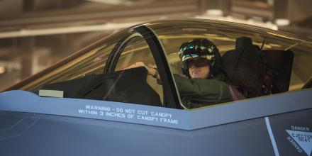 Wing Commander Darren Clare in an F-35A Lightning II at RAAF Base Williamtown during Exercise Lightning Storm. Photo: Corporal Melina Young