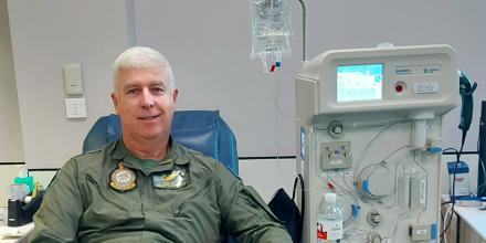 Warrant Officer Shane Grist donating plasma during the Defence Blood Challenge in Townsville.