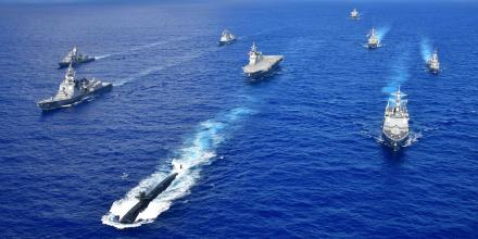 Ships of the RAN, South Korean Navy, Japan Maritime Self Defense Force and the US Navy sail in formation in waters off Guam during Exercise Pacific Vanguard.
