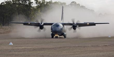 An Air Force C-27J Spartan A34-007 aircraft lands at Benning Airfield, Queensland during Exercise Ready Spartan Prove. Photo: Corporal Colin Dadd