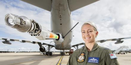 Air refuelling operator Flight Lieutenant Ingrid Van Der Vlist with the KC-30A multi-role tanker transport advanced refuelling boom system. Photo: Corporal Jesse Kane
