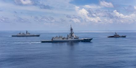 INS Sahyadri, left, HMAS Hobart and INS Karmuk sail in company during a passage exercise in the north-east Indian Ocean. Photo: Leading Seaman Christopher Szumlanski