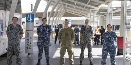 ADF personnel at Sydney International Airport during Operation COVID-19 Assist. Photo: Able Seaman Leon Dafonte Fernandez