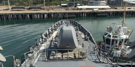 HMAS Arunta departs Darwin for the six week East-Asian Deployment. Photo: Leading Seaman Jarrod Mulvihill