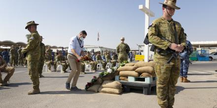 Personnel from Australia's main operating base in the Middle East region hold a Remembrance Day service. Photo: Corporal Tristan Kennedy