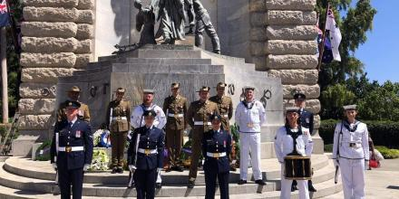 Australia's Federation Guard at the National War Memorial in Adelaide on Remembrance Day. RAAF Base Edinburgh personnel took part in services around South Australia.