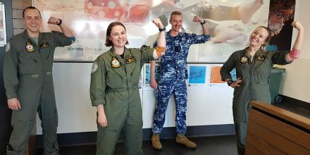Pilot Officers Mitchell Bamonte, left, Lauren Ashley Finnerty, Philip French and Isabella Filmer after donating blood at No. 2 Flying Training School